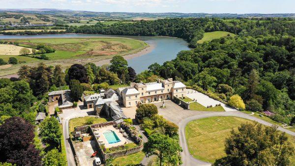 Pentillie Castle & Estate grounds aerial view
