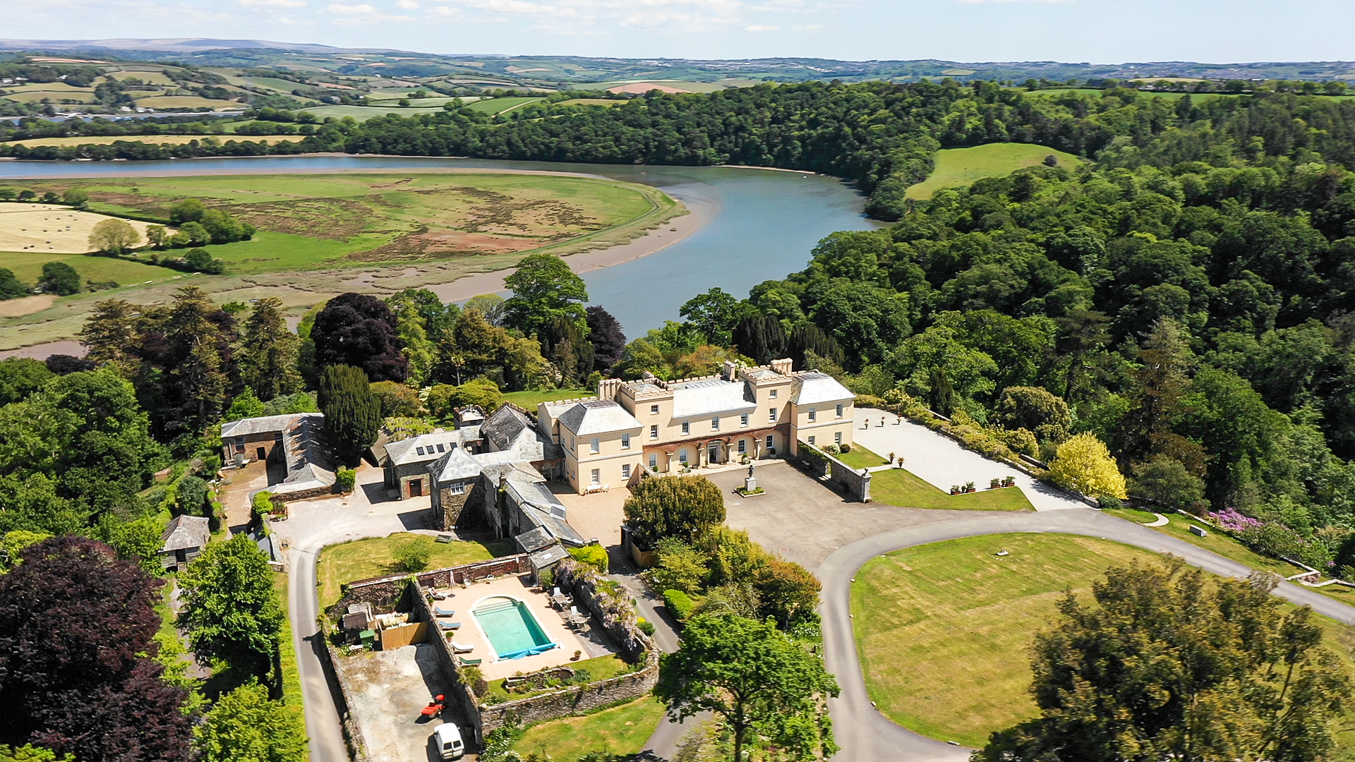 Pentillie Castle & Estate grounds aerial view